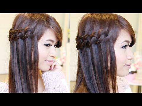Hair Tutorial: Knotted Loop Waterfall Braid Hairstyle