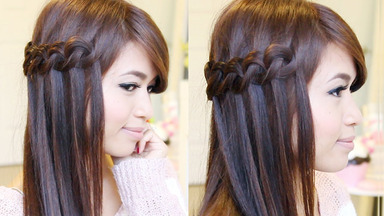 Hairstyle Video On Youtube : Knotted Loop Waterfall Braid Hairstyle Hair Tutorial - YouTube