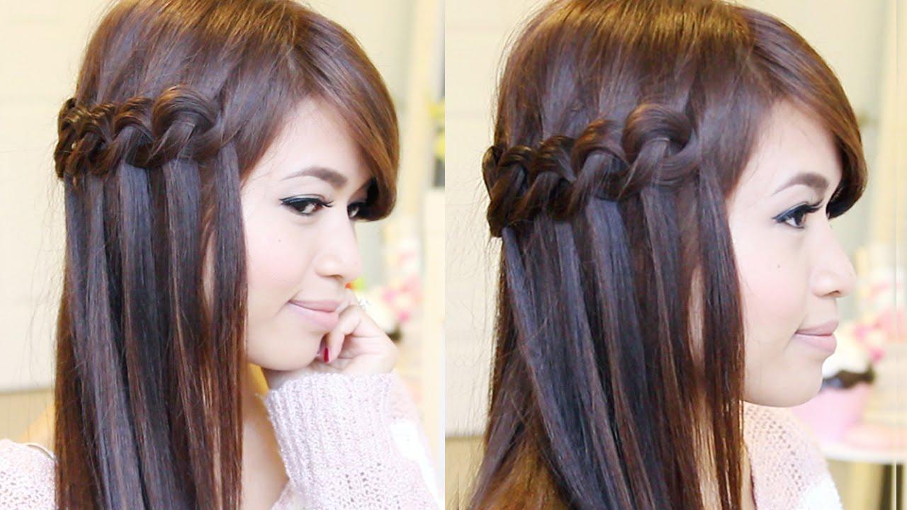 Knotted Loop Waterfall Braid Hairstyle  Hair Tutorial  YouTube