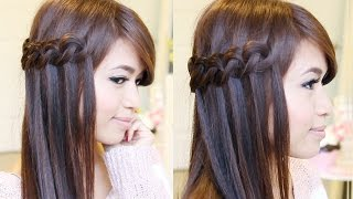 Knotted Loop Waterfall Braid Hairstyle | Hair Tutorial Thumbnail