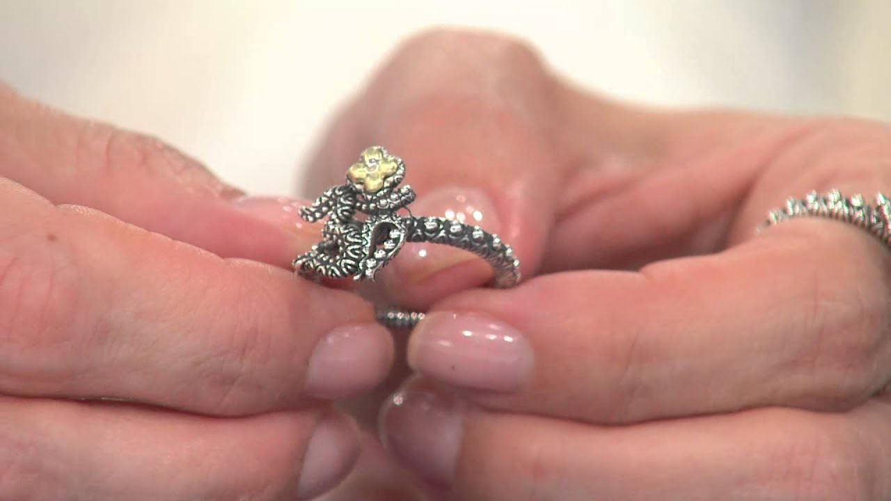 Barbara Bixby Sterling & 18K Yellow Gold Om Ring with Amy Stran ...