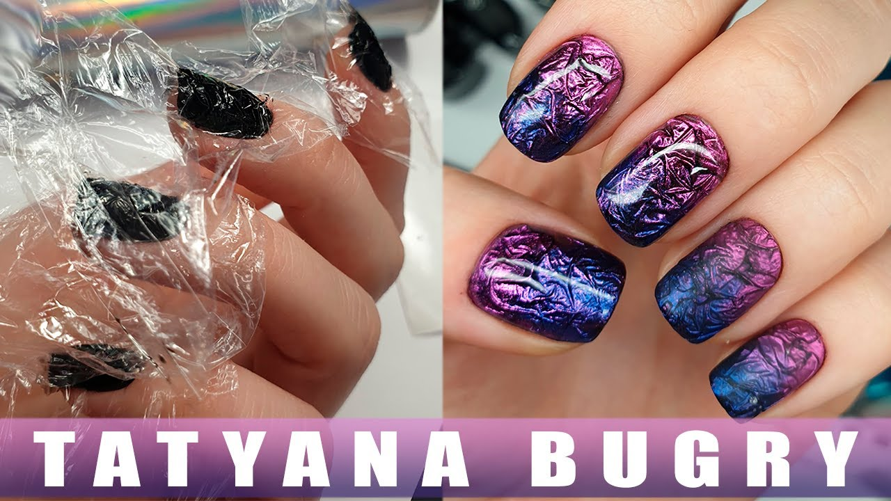SUPER Easy & Incredible Nail Design using CELLOPHANE 😱  | Chrome Powder Manicure | Russian, Efile