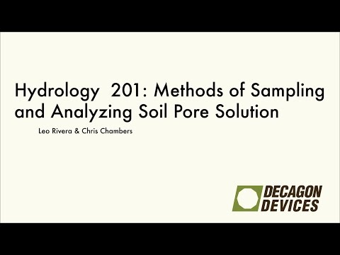 Hydrology 201: Methods of Sampling and Analyzing Soil Pore Solution