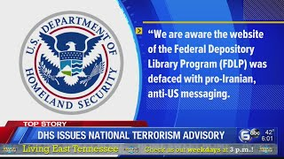 Department of Homeland Security issues National Terrorism Advisory
