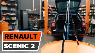Як се змінять газова пружина за капака на багажника на RENAULT SCENIC 2 урок | Autodoc