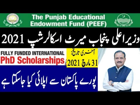 Punjab Education Endowment Fund PEEF Scholarship for Pakistani Students 2021 | Scholarships for PHD