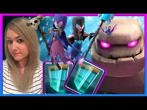 ???? GRAND CHALLENGE WITH GOLEM CLONE DOUBLE WITCH DECK & LADDER PUSHING +4500 | ????CLASH ROYALE???