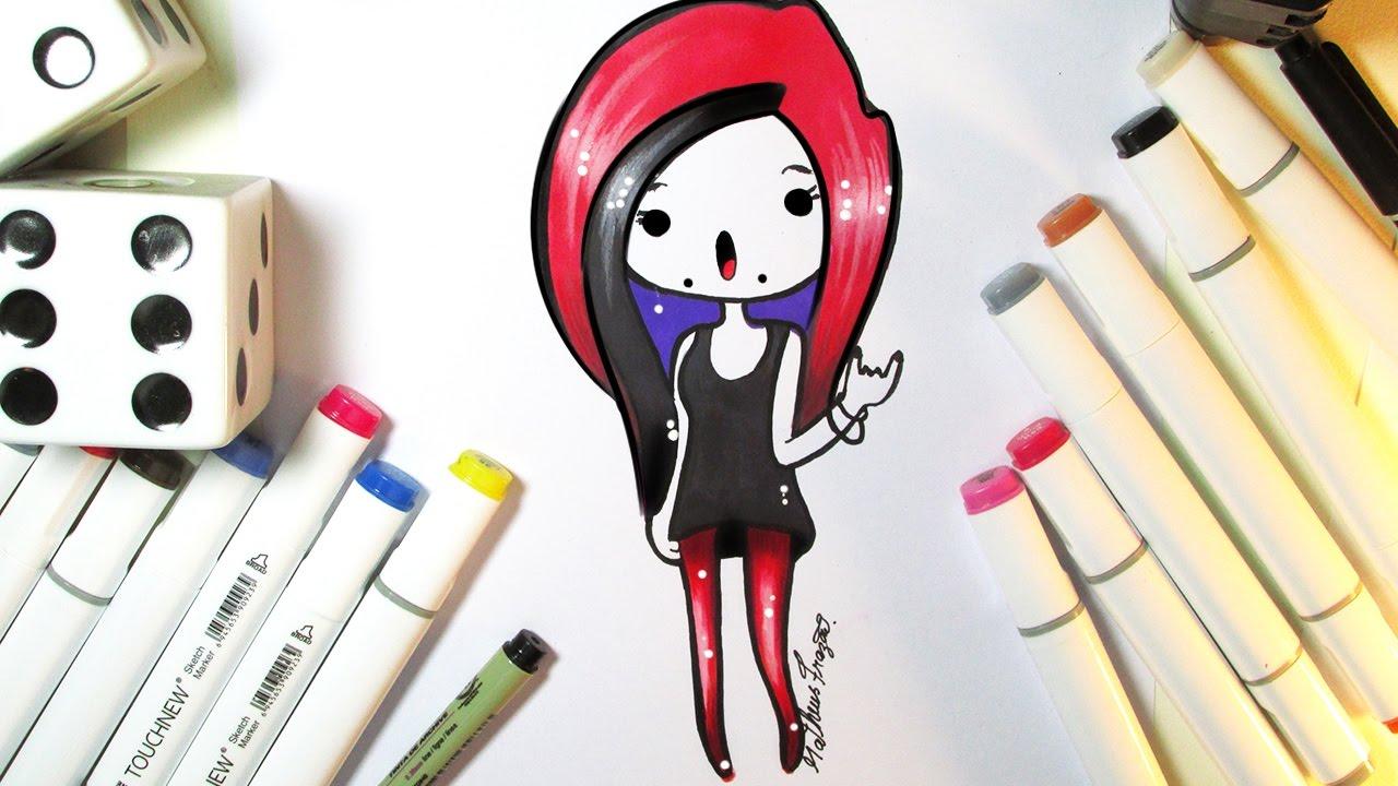 Como Desenhar Bonequinha Roqueira Tumblr Passo A Passo Youtube