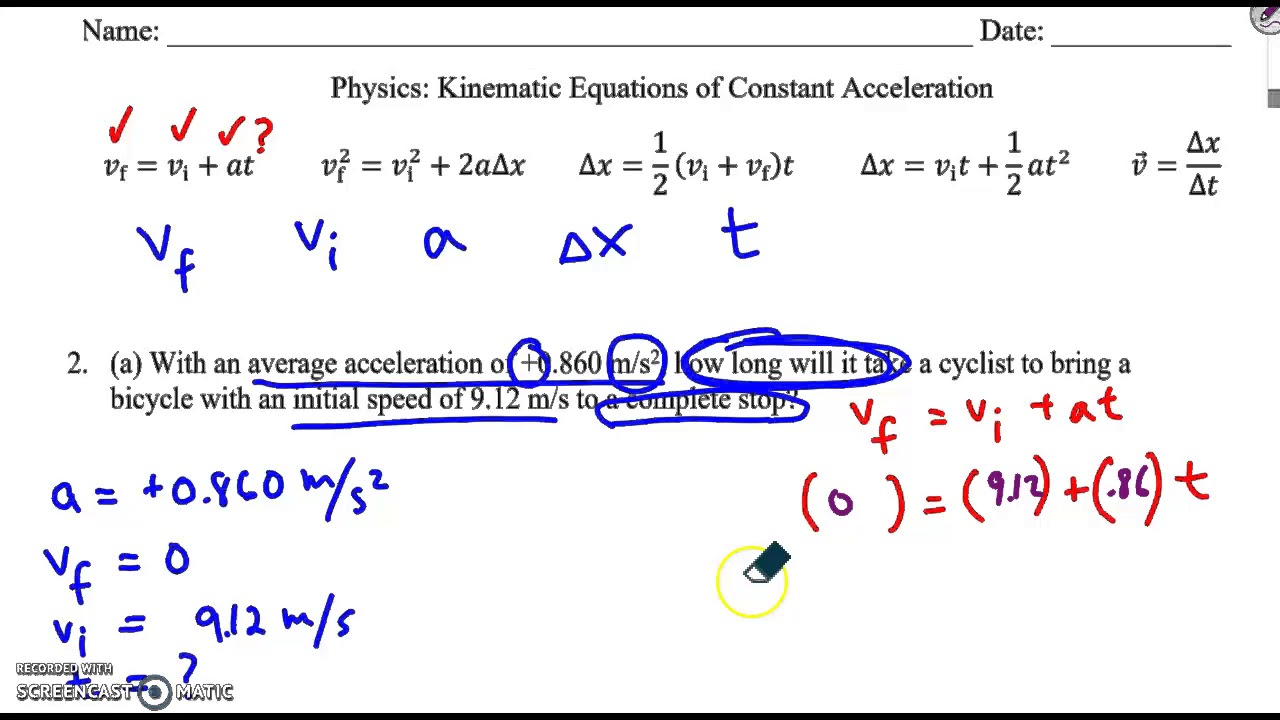 Constant Acceleration Problems Youtube