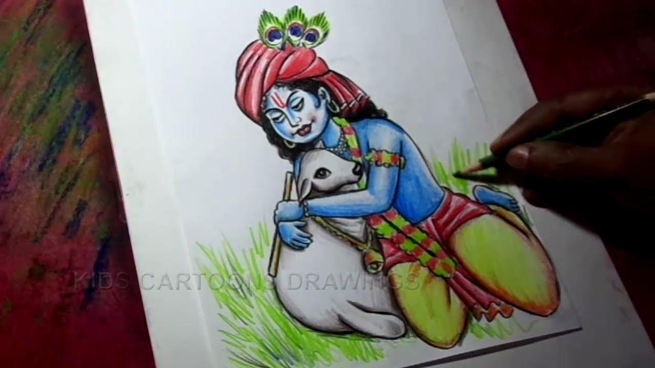 How to draw lord krishna pencil drawing