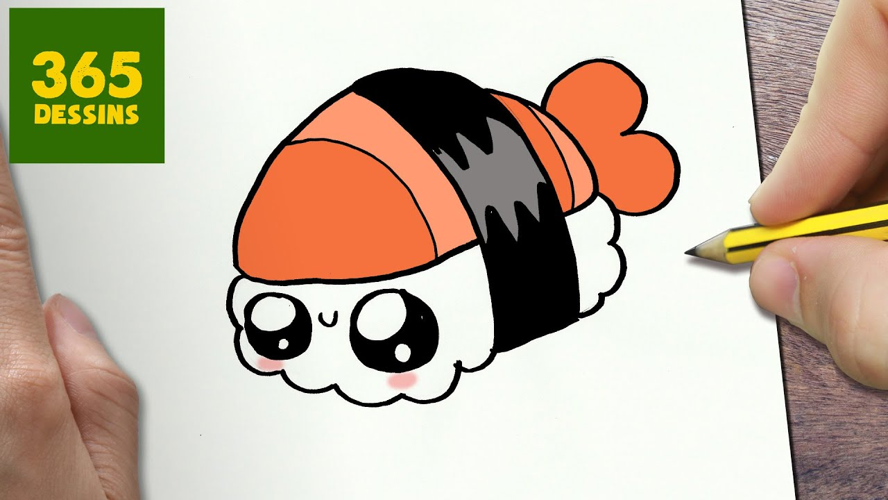 COMMENT DESSINER SUSHI KAWAII ÉTAPE PAR ÉTAPE \u2013 Dessins kawaii facile. 365  DESSINS
