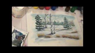 Зимний пейзаж, гуашь, демо версия
