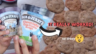 BAKING the DOUGH From a Pint of Cookie Dough Ice Cream *SHOCKING*