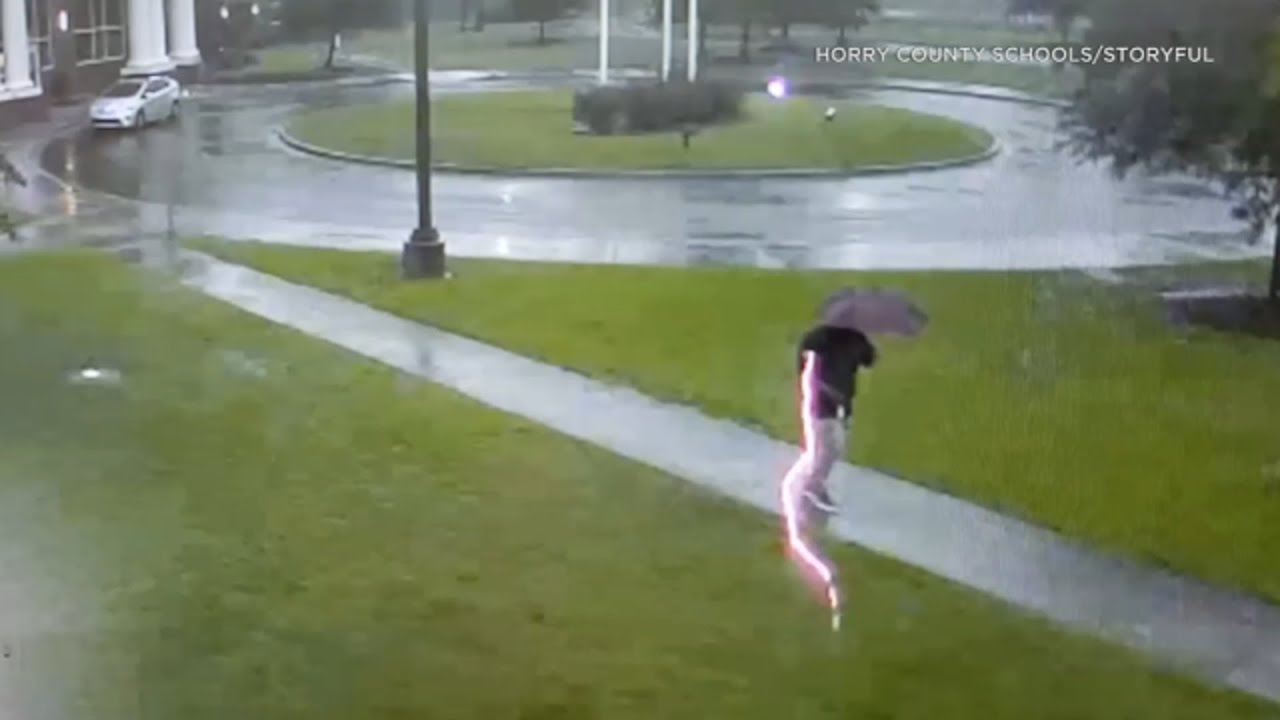 Download Man struck by lightning while walking in storm | ABC7