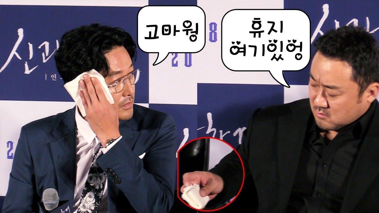 [신과함께2] 하정우(Ha Jung Woo)에게 휴지 챙겨주는 '다정한' 성주신 마동석 @ '신과함께-인과연'
