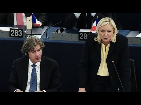 French far right's Marine Le Pen clashes with Hollande and Merkel at European Parliament