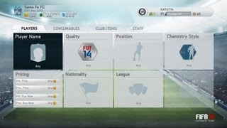 FIFA 14 - ULTIMATE TEAM MENU SCREEN - NEW FEATURES, SEARCH FOR NAME, AUCTION Screenshot Review!