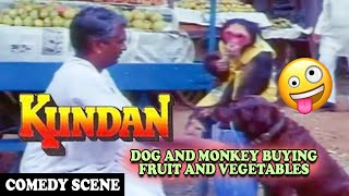 Dog and Monkey Buying Fruit and Vegetables Comedy Scene | Kundan Movie | Dharmendra