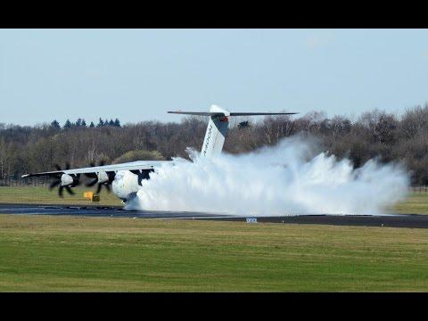 Wet runway test Airbus A400M Atlas at Twente Airport