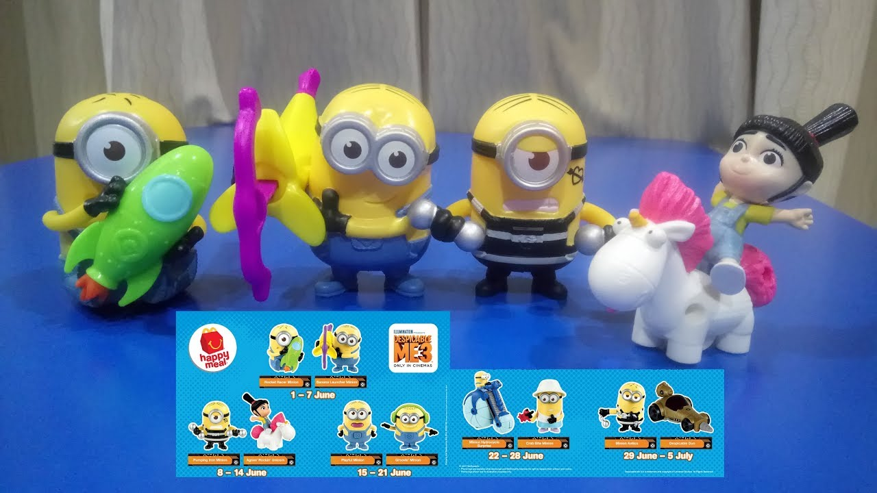2017 Minion Despicable Me 3 Toys With Happy Meals From Mcdonalds Malaysia June 1 To June 14 Youtube