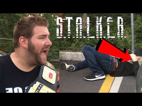 CREEPY STALKER SUPERKICKED IN PARKING LOT!
