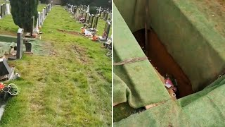 video: Cemetery workers 'disrespect' the dead in TikTok videos shared online
