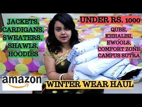 Winter wear haul | Winter Jackets, shrugs,shawls, cardigans,sweaters, hoodies | Amazon