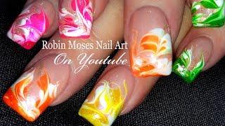 No Water Needed - Rainbow Swirl DIY Drag Marble nail art Tutorial