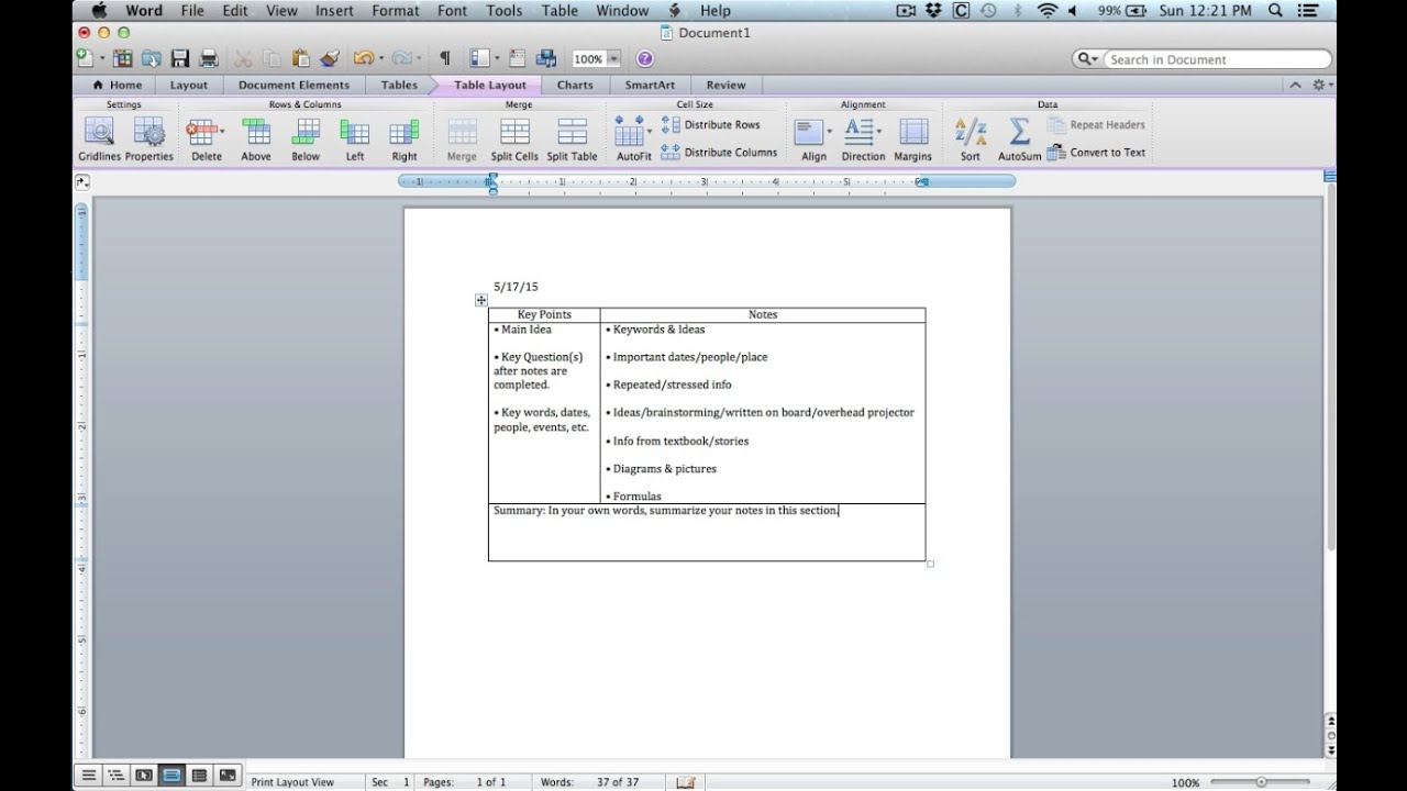 Cornell Notes Tutorial Taking Cornell Notes on Microsoft Word – Note Taking Template Microsoft Word