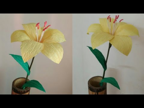 DIY Lily Flower|How to make lily flower from crepe paper| Paper flower| Crepe paper flower tutorial