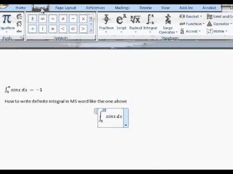 How To Type Definite Integral Equation In Word Youtube