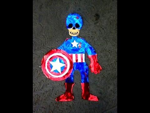 Diy Capitán América Esqueleto De Papel Día De Muertos Halloween