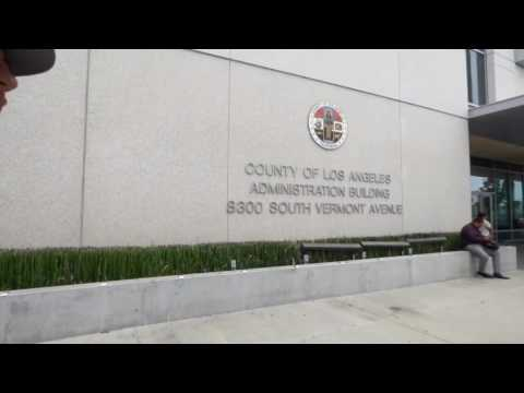 Los Angeles County  Building:   CRAZY SECURITY GUARD ALMOST GRABS ME ( 1st Amend Audit  )