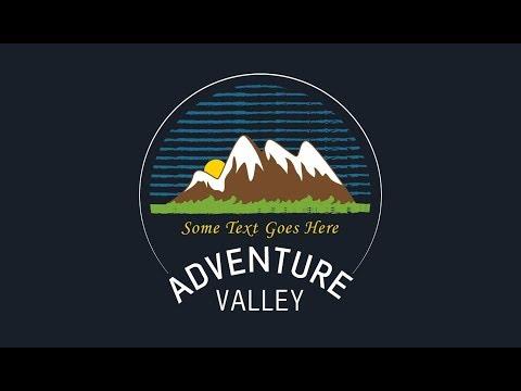 Emblem Logo Design | Adobe Illustrator CC (Adventure Valley)