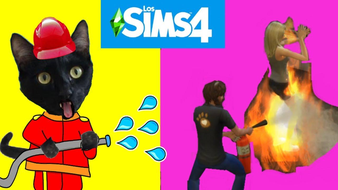 Incendio y fuego en casa de mis gatos graciosos Luna y Estrella en los SIMS 4 / Videos de gatitos