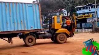 cargo container truck amazing driving