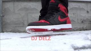 2013 Nike Air Jordan OG BRED Retro 1 Sneaker Review + On Feet in The Snow  With @DjDelz