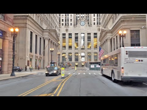 Driving Downtown - Chicago's Wall Street 4K - USA