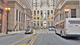 Driving Downtown - Chicago's Finance Street - Chicago USA
