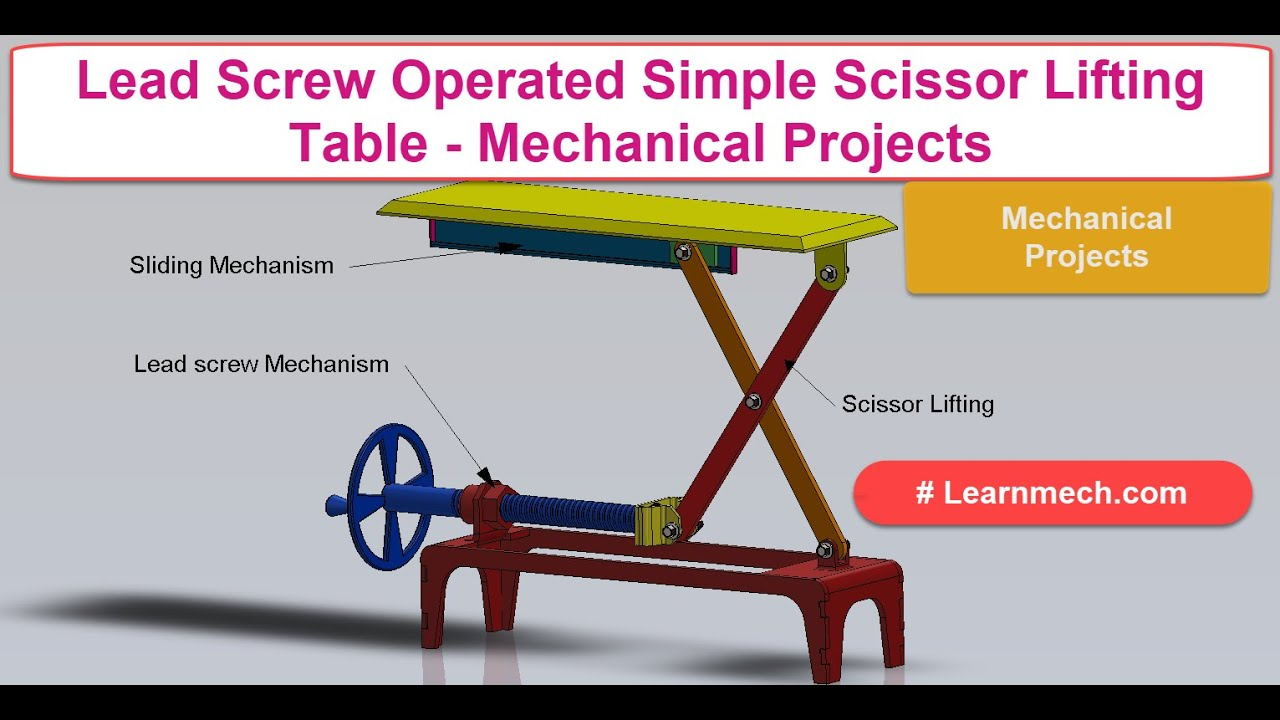 Lead screw Operated Simple Scissor Lifting Table Mechanism