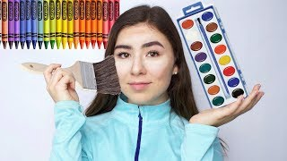FULL FACE OF MAKEUP USING ONLY ART SUPPLIES CHALLENGE!