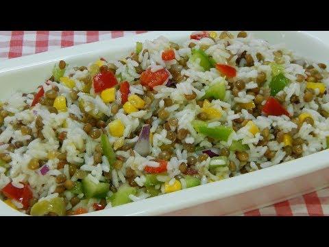 Cómo hacer una riquísima ensalada de arroz y lentejas