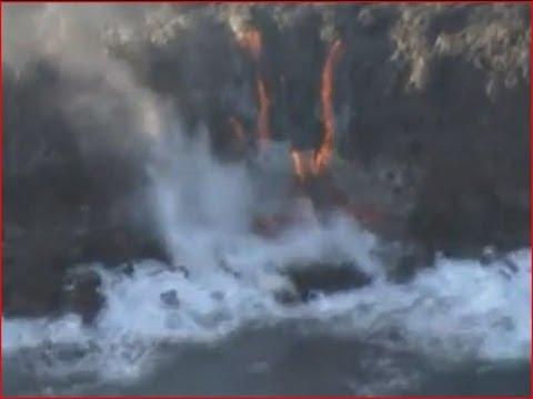 Kilauea volcano lava reaches ocean - Hawaii, US