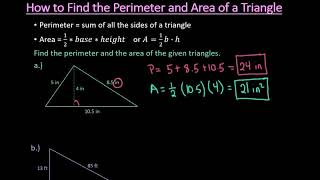 How to Find tнe Perimeter and Area of a Triangle