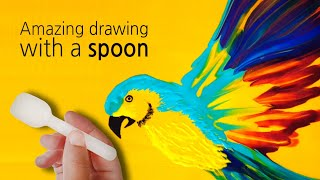 (133) Amazing drawing with a spoon _ Beautiful parrot _ Fluid acrylic _ Designer Gemma77