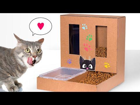 Самодельный картонный диспенсер для кошачьего корма и воды