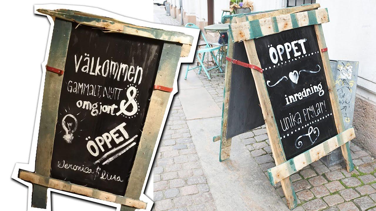 Hur man gör en egen trottoarpratare av lastpallar How to make your own pavement sign of