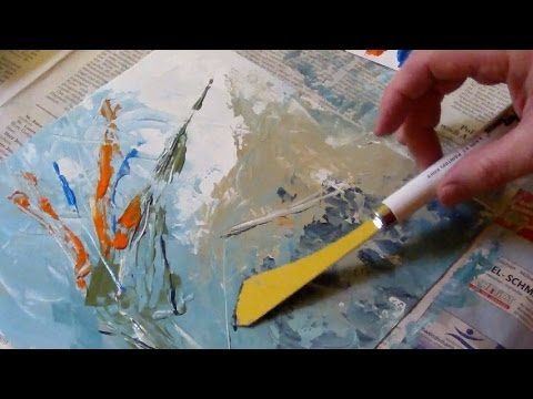 Acrylic painting with a palette knife no brush painting for How to paint with a palette knife with acrylics