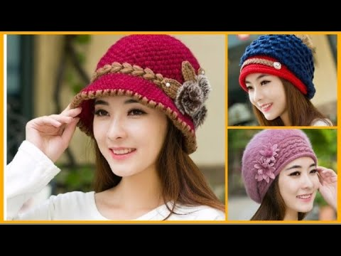 72f0aa1470eea9 Beautiful & Stylish WINTER CAP for Girls / Stylish trendy cap designs !  Ladies Fashion !