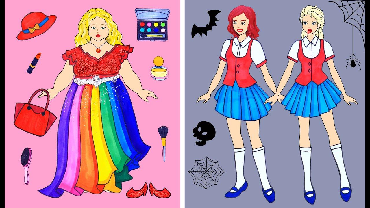 [DIY] Paper Dolls Super Fat is Bullied & Got Boyfriend! Beautiful Dresses Barbie Dolls Papercrafts
